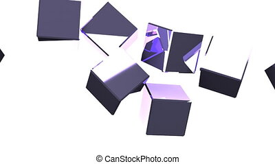 Metal cubes abstract on white background. 3DCG render animation.