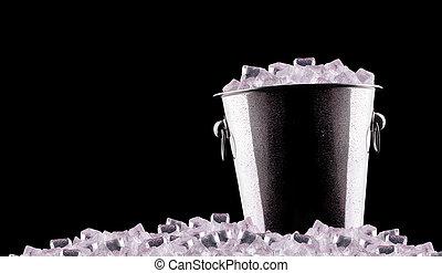 metal, cubo del champán, hielo