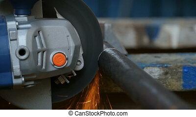 metal cutting abrasive disc slow motion close to
