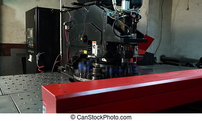 Metal cutting. View of machine tool for punching