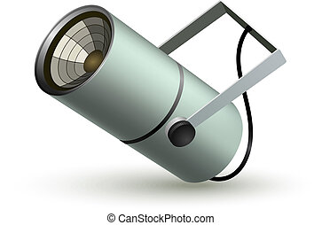 Metal cylindrical spotlight on a white background