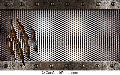 metal damaged grate background