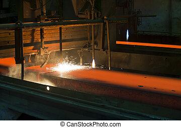 metal, dentro, corte, gás, quentes