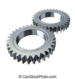 metal, det gears, på hvide, baggrund, -, udklip sti