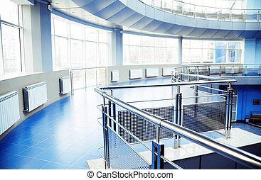 metal, detaljer, i, en, interior, i, moderne, kontor bygge