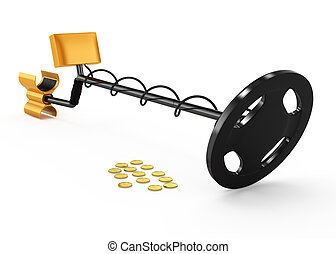 metal detector and coins isolated on white background. 3d rendered image