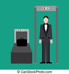 Metal detector at the airport