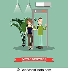 Metal detector concept vector illustration in flat style.