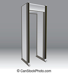 Metal detector in airports and official institutions. Security. Vector illustration.