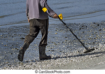 Man using a metal detector on the beach.