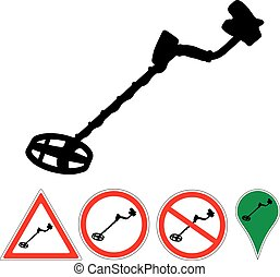 metal detector sign on a white
