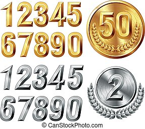 Metal digits - Set of gold and silver digits. Eps8. CMYK....