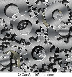 metal, dimensional, 3, repeatable, engranajes, seamlessly
