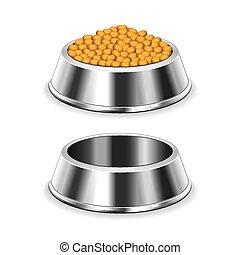 Metal dog bowl isolated on white vector