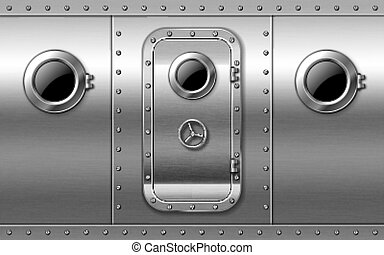 Metal door on wall with portholes and rivets, submarine or bunker close entrance. Ship or secret laboratory steel bulletproof doorway with illuminator and rotary valve lock wheel realistic 3d vector