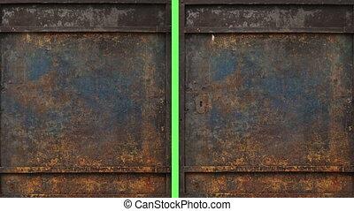 metal door opening to green screen