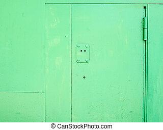 Metal door.