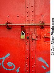 metal door - Close up of red metal door