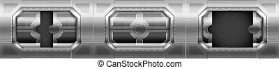 Metal door, sliding gates in spaceship hallway interior. Closed, open, slightly ajar shuttle or secret laboratory entrance, futuristic bunker, ski-fi gateways on wall. Realistic 3d vector illustration
