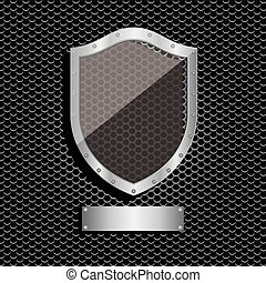 metal dot perforated texture with shield and plaque label