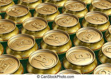 Metal drink cans with beer - Macro view of metal drink cans ...