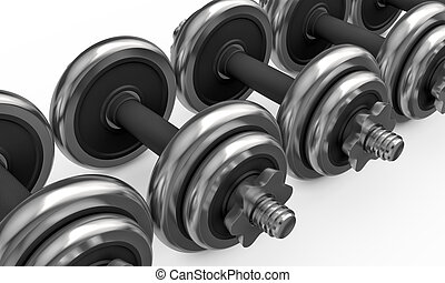 Metal dumbbells isolated on white background