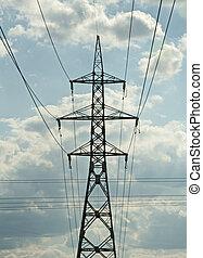 metal, eléctrico, poste