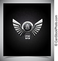 metal, emblema, asas