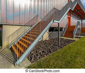 Metal emergency exit ladder