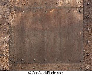 metal, enferrujado, antigas, rebites, fundo