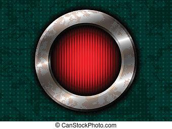 metal enferrujado, círculo, com, vermelho, lâmpada