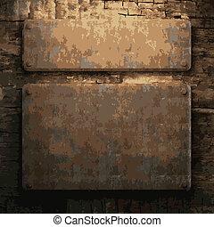 metal enferrujado, e, madeira, prato