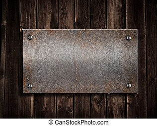 metal enferrujado, prato, ligado, madeira, fundo