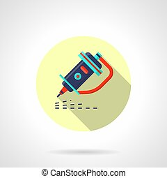 Metal engraving machine flat round vector icon - Symbol of...