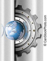 metal, engrenagens, e, globo, industrial, modelo