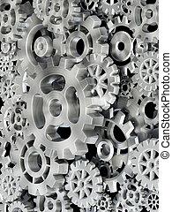 metal, engrenagens, em, motion., 3d, ilustração