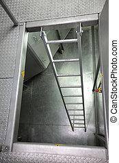 metal, escada, em, industrial, espaço