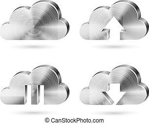 metal escovado, nuvem, ícones