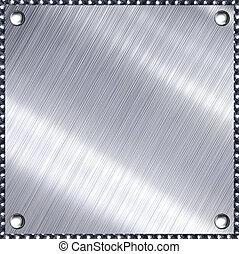 metal., escovado, prata