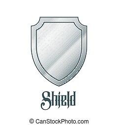 metal, escudo, vazio