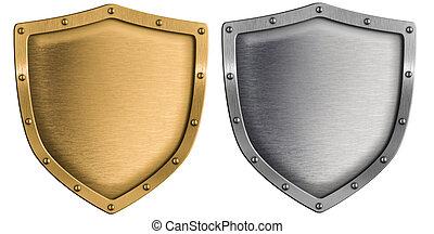 metal, escudos, jogo, prata, e, ouro, isolado, branco