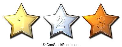 metal, estrella, premios