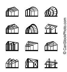 metal, estruturas, perspectiva