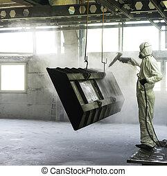 metal, explodir, trabalhador, areia, crate