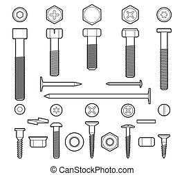 Metal fasteners line icons set