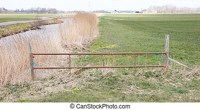 Metal fence and farm gate leading into grassy field