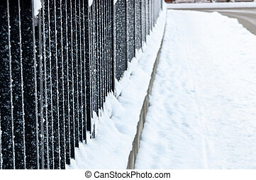 metal fence covered with frost. Frosty weather