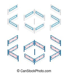 Metal fence flat 3d vector isometric illustration. Metallic fence isolated on background.