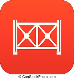 Metal fence icon digital red