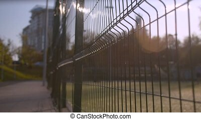 Metal fence in the park